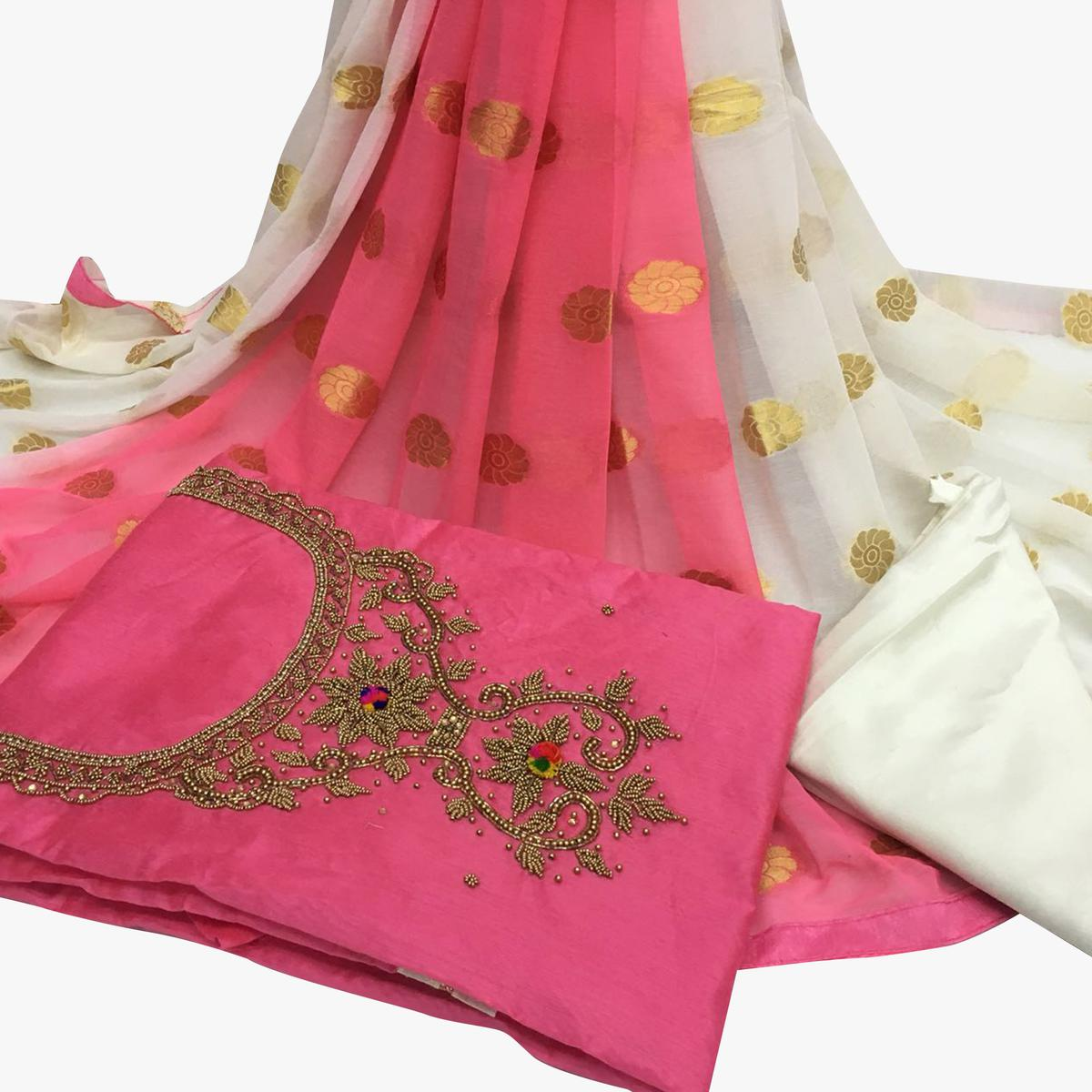 Gripping Light Pink Colored Partywear Embroidered Santoon Dress Material