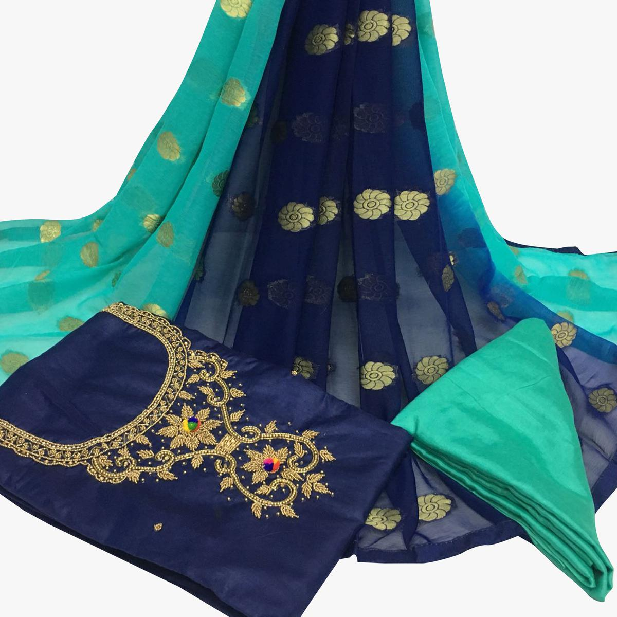 Absorbing Navy Blue Colored Partywear Embroidered Santoon Dress Material