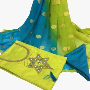 Stunning Green Colored Partywear Embroidered Santoon Dress Material
