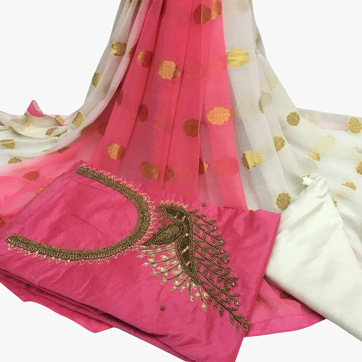 Strange Light Pink Colored Partywear Embroidered Santoon Dress Material