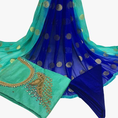 Classy Turquoise Green Colored Partywear Embroidered Santoon Dress Material