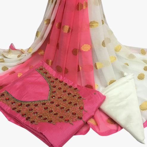Lavish Light Pink Colored Partywear Embroidered Santoon Dress Material