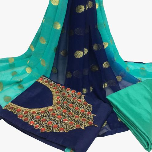 Fantastic Navy Blue Colored Partywear Embroidered Santoon Dress Material