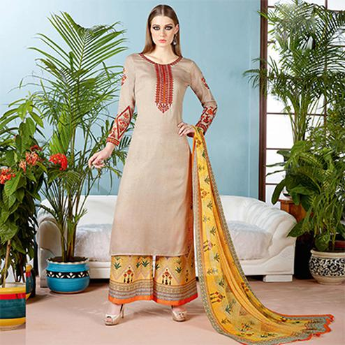 Trendy Beige Pure Cambric Cotton Printed Dress Material