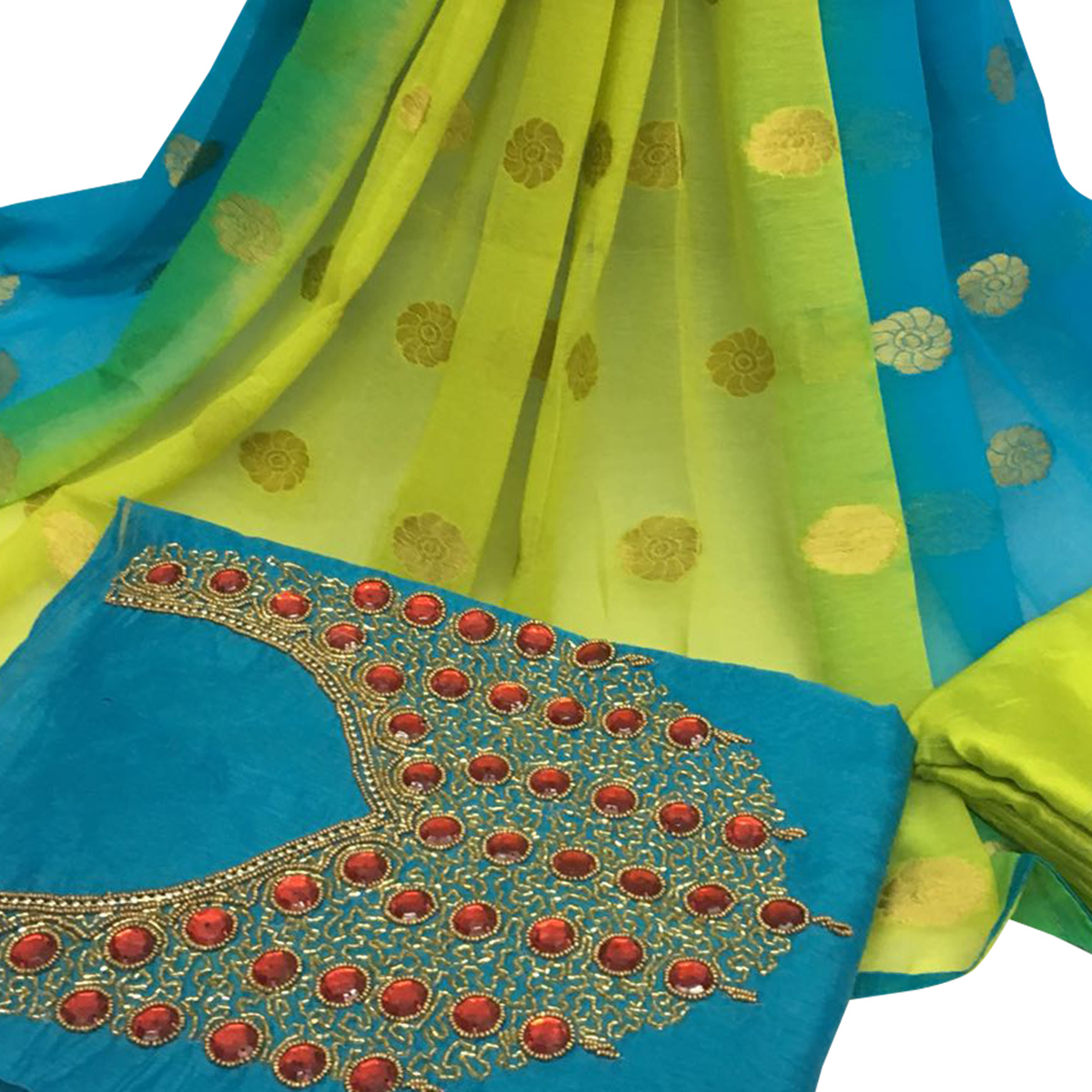 Gorgeous Sky Blue Colored Partywear Embroidered Santoon Dress Material