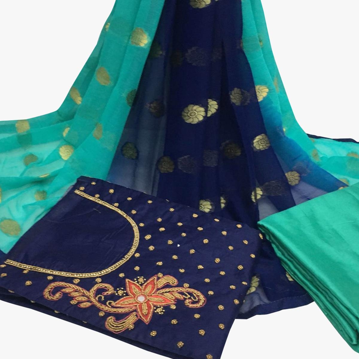 Superb Navy Blue Colored Partywear Embroidered Santoon Dress Material