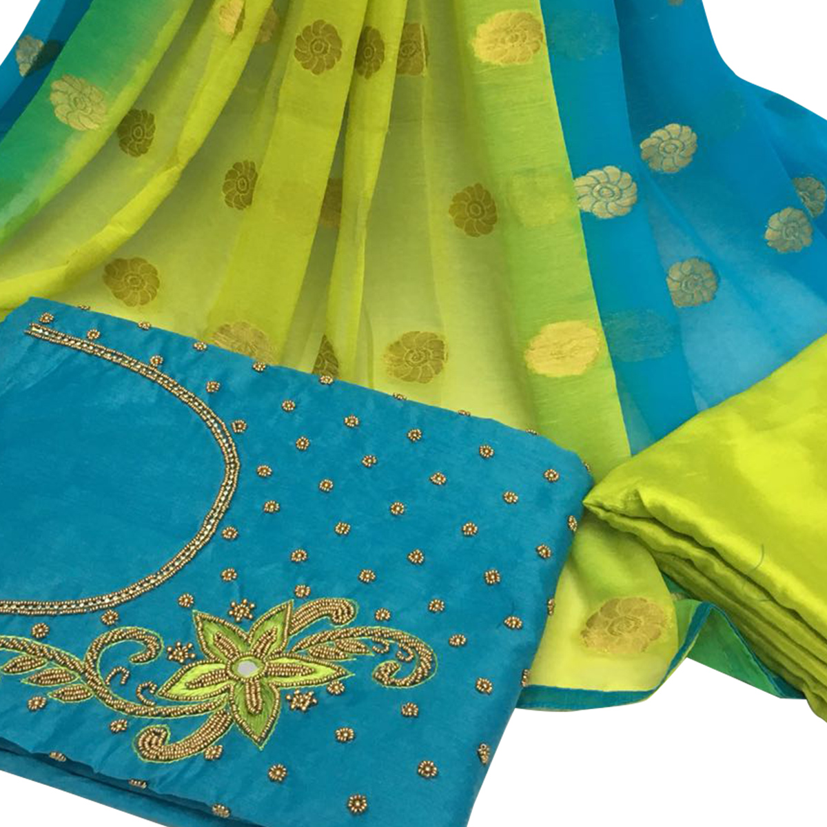 Jazzy Sky Blue Colored Partywear Embroidered Santoon Dress Material
