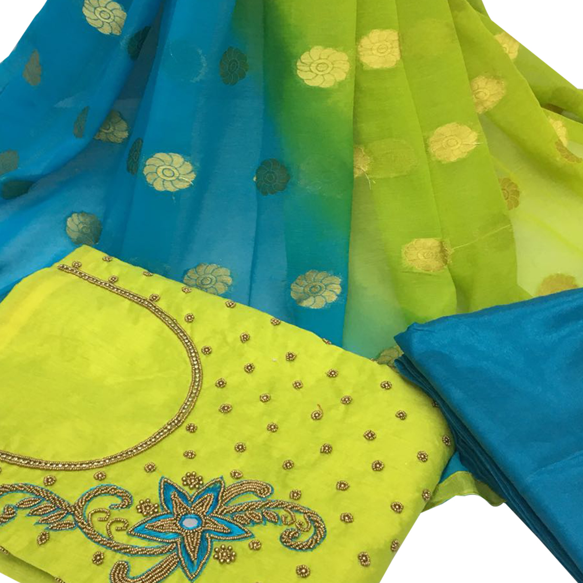 Irresistible Green Colored Partywear Embroidered Santoon Dress Material