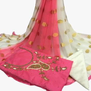 Magnificent Light Pink Colored Partywear Embroidered Santoon Dress Material