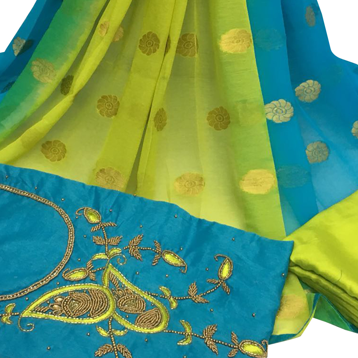 Sparkling Sky Blue Colored Partywear Embroidered Santoon Dress Material