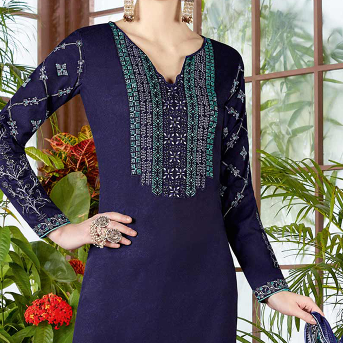 Stunning Navy Pure Cambric Cotton Printed Dress Material