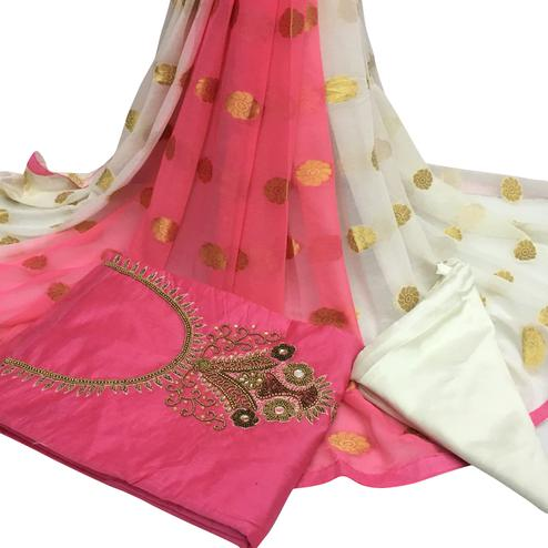 Blissful Light Pink Colored Partywear Embroidered Santoon Dress Material