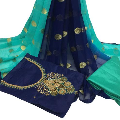 Flawless Navy Blue Colored Partywear Embroidered Santoon Dress Material