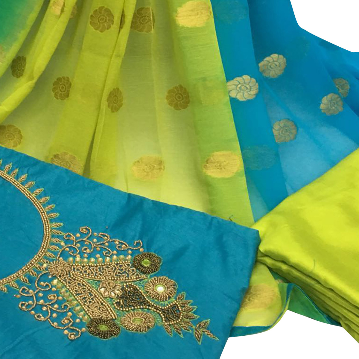 Arresting Sky Blue Colored Partywear Embroidered Santoon Dress Material