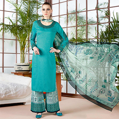 Beautiful Teal Blue Pure Cambric Cotton Printed Dress Material