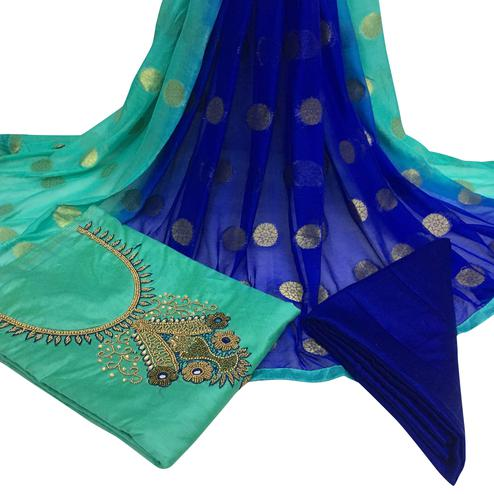 Graceful Turquoise Green Colored Partywear Embroidered Santoon Dress Material