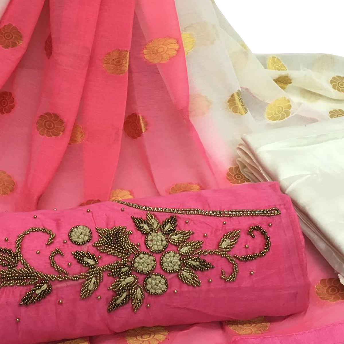Classy Light Pink Colored Partywear Embroidered Santoon Dress Material