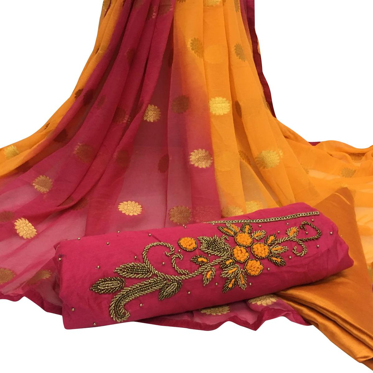 Superb Dark Pink Colored Partywear Embroidered Santoon Dress Material