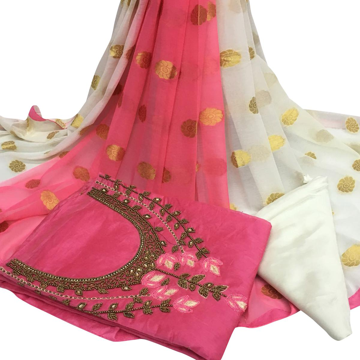 Refreshing Light Pink Colored Partywear Embroidered Santoon Dress Material