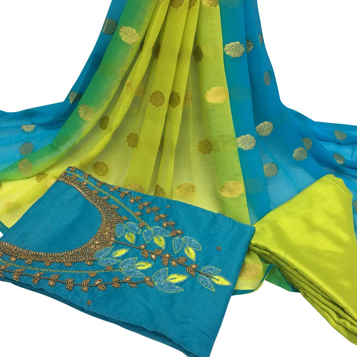 Energetic Sky Blue Colored Partywear Embroidered Santoon Dress Material