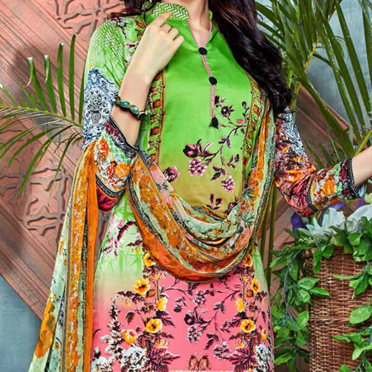 Graceful Parrot Green Digital Printed Partywear Dress Material