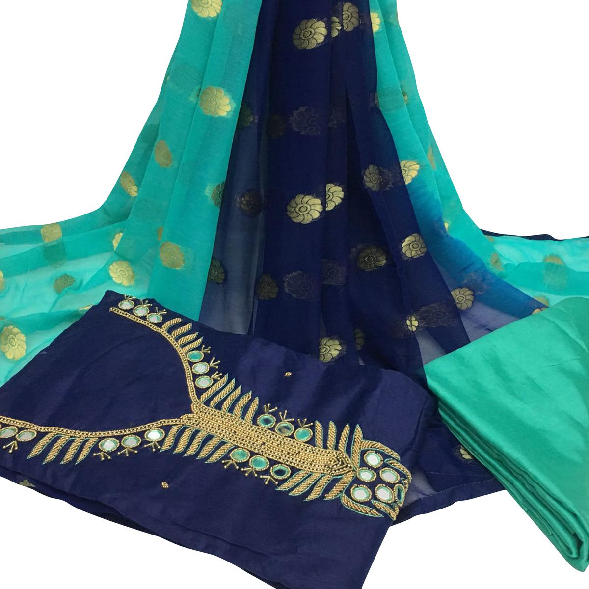 Innovative Navy Blue Colored Partywear Embroidered Santoon Dress Material