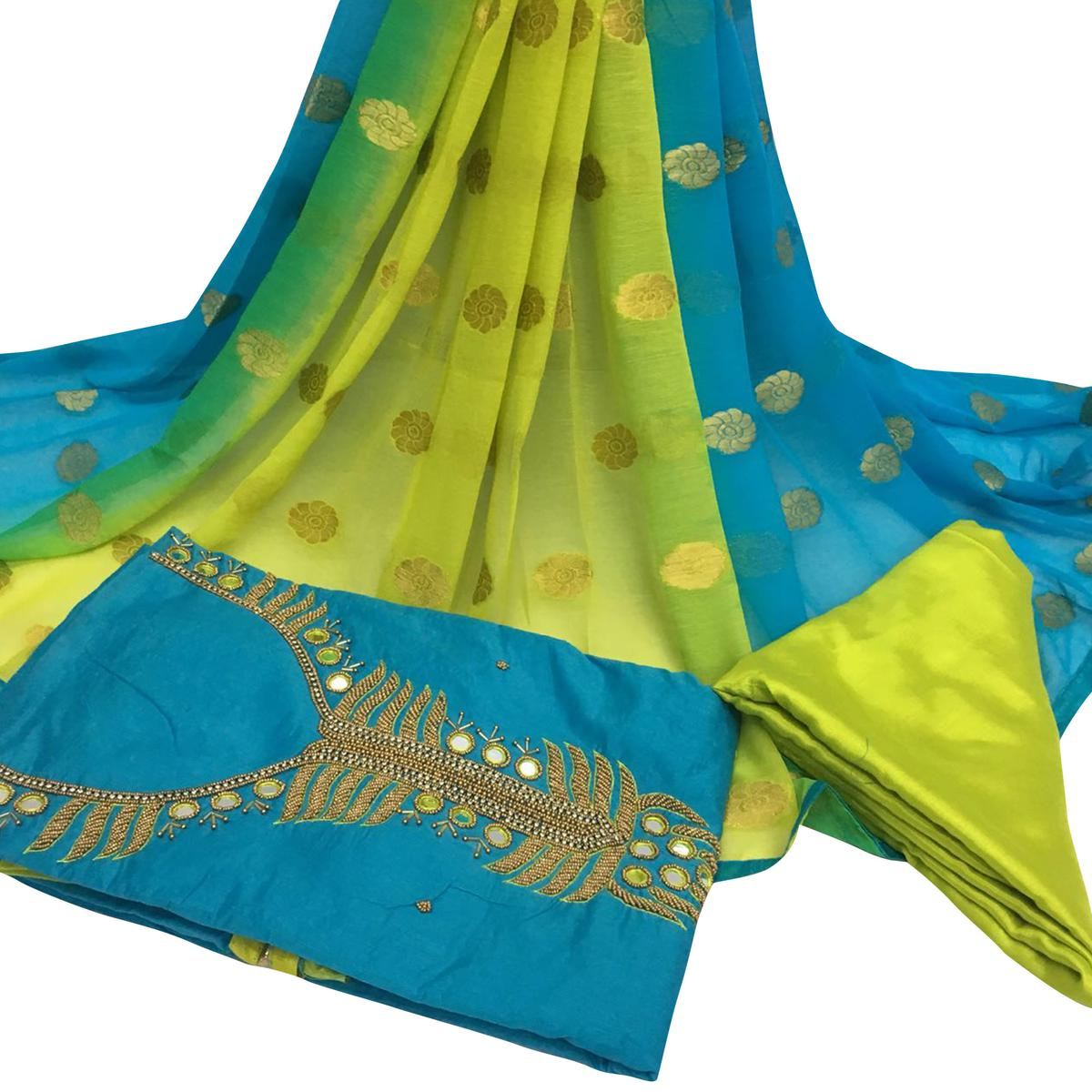Gleaming Sky Blue Colored Partywear Embroidered Santoon Dress Material