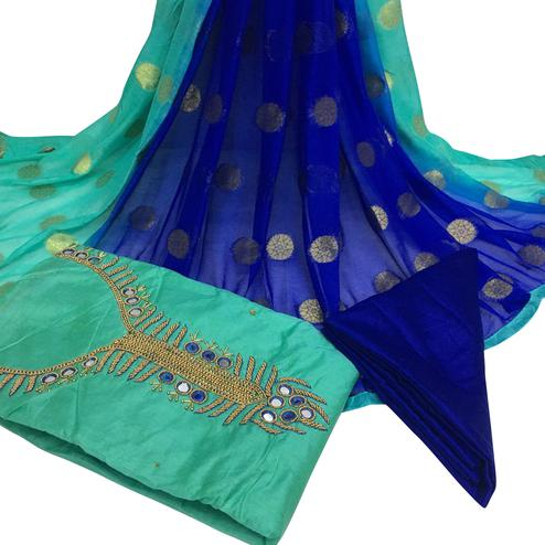 Impressive Turquoise Green Colored Partywear Embroidered Santoon Dress Material