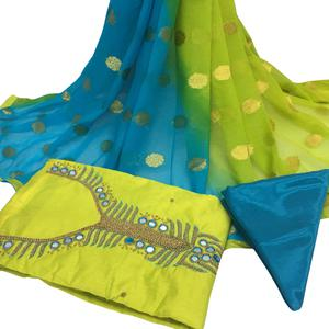 Lovely Green Colored Partywear Embroidered Santoon Dress Material