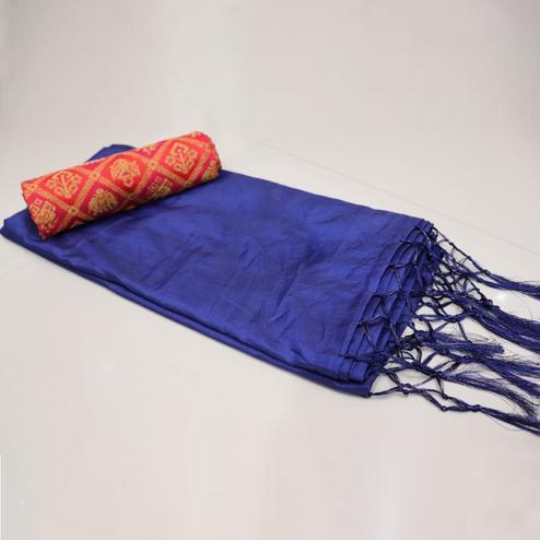 Beautiful Navy Blue Colored Festive Wear Sana Silk Saree