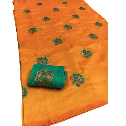 Glowing Orange Colored Festive Wear Embroidered Sana Silk Saree