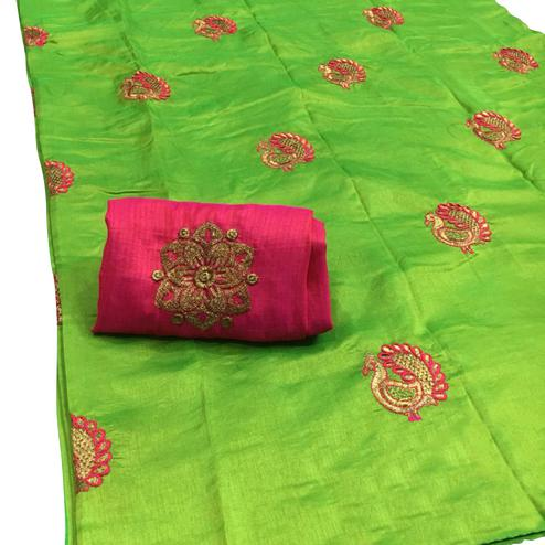 Blooming Green Colored Festive Wear Embroidered Sana Silk Saree