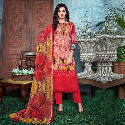 Stunning Red Digital Printed Partywear Dress Material