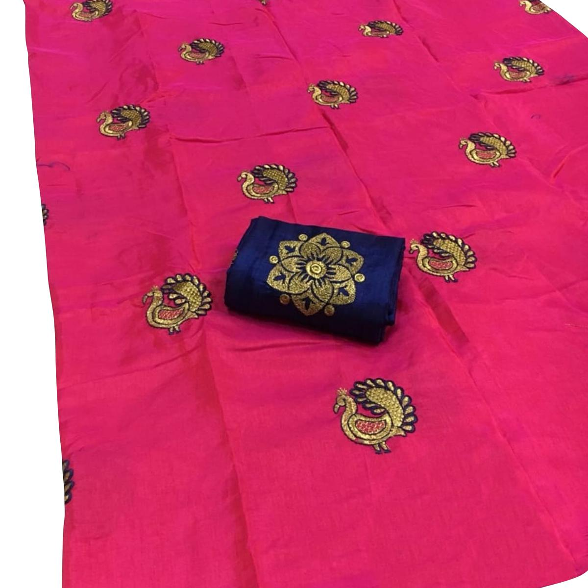 Desiring Pink Colored Festive Wear Embroidered Sana Silk Saree