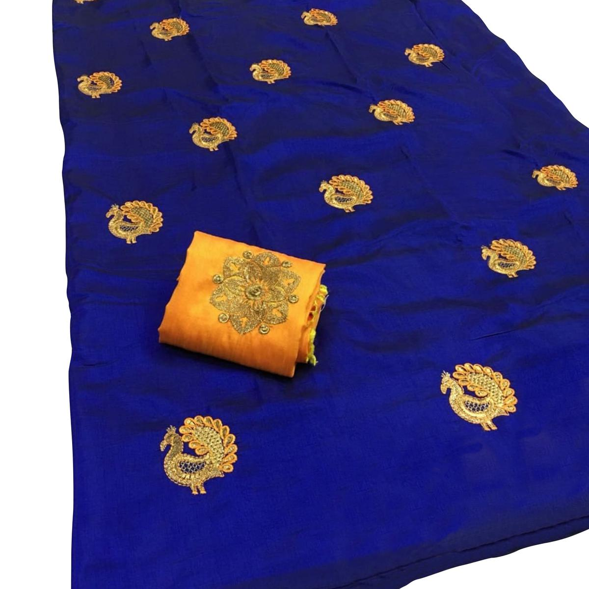 Arresting Navy Blue Colored Festive Wear Embroidered Sana Silk Saree