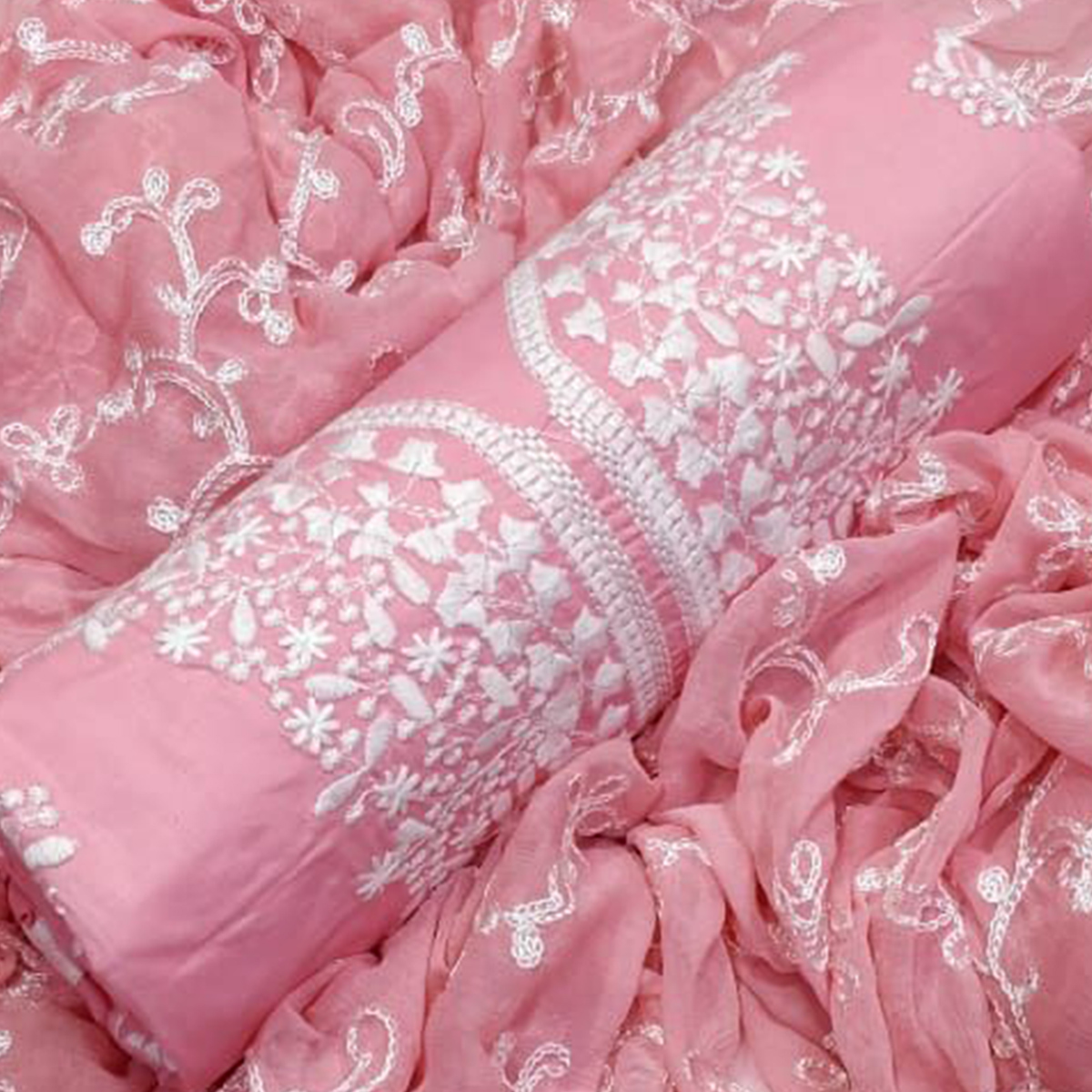 Elegant Peach Colored Partywear Embroidered Cotton Dress Material