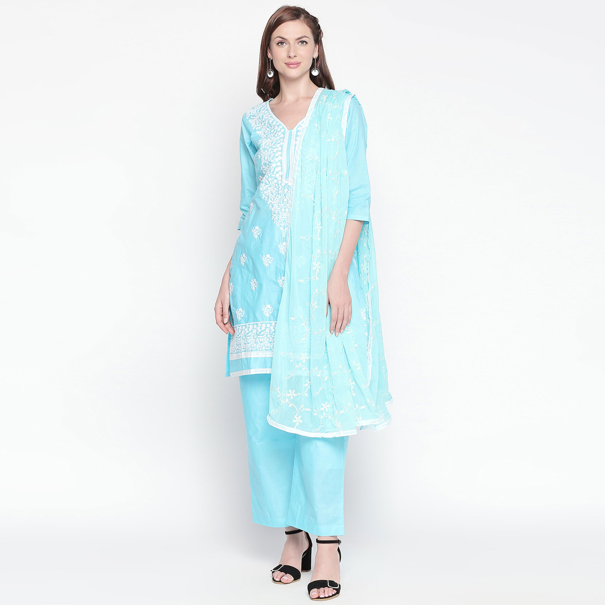 Gleaming Sky Blue Colored Partywear Embroidered Cotton Dress Material