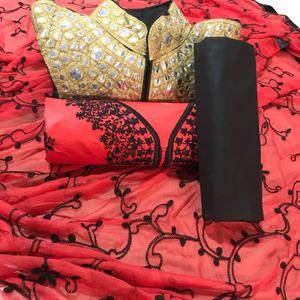 Radiant Red Colored Party Wear Cotton & Banglori Silk Salwar Suit