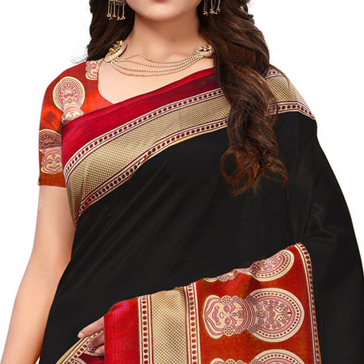 Adorable Black Colored Festive Wear Printed Art Silk Saree