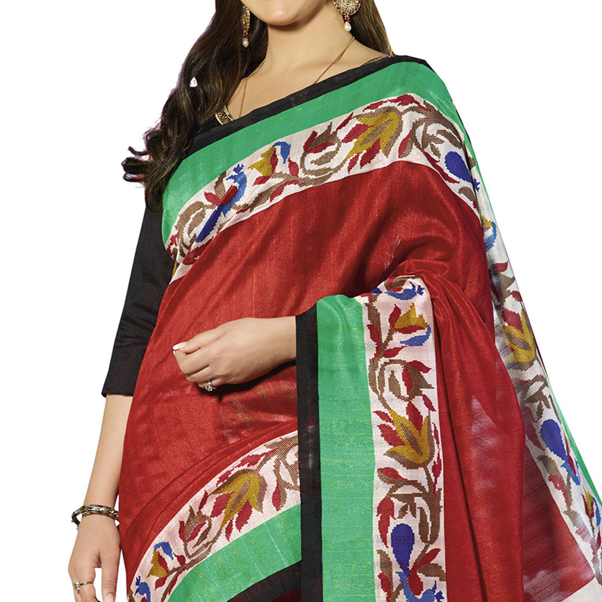Maroon - Off White Printed Silk Saree