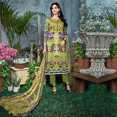 Lovely Olive Green Digital Printed Partywear Dress Material