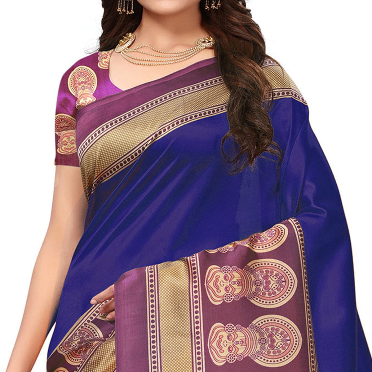Attractive Blue Colored Festive Wear Printed Art Silk Saree
