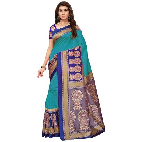 Charming Rama Green Colored Festive Wear Printed Art Silk Saree