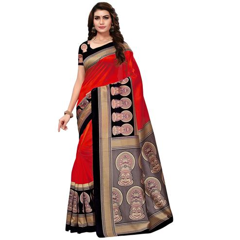 Ravishing Red Colored Festive Wear Printed Art Silk Saree