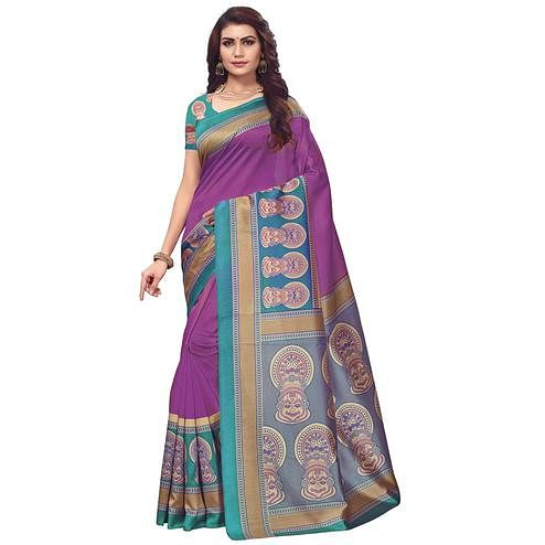 Elegant Purple Colored Festive Wear Printed Art Silk Saree
