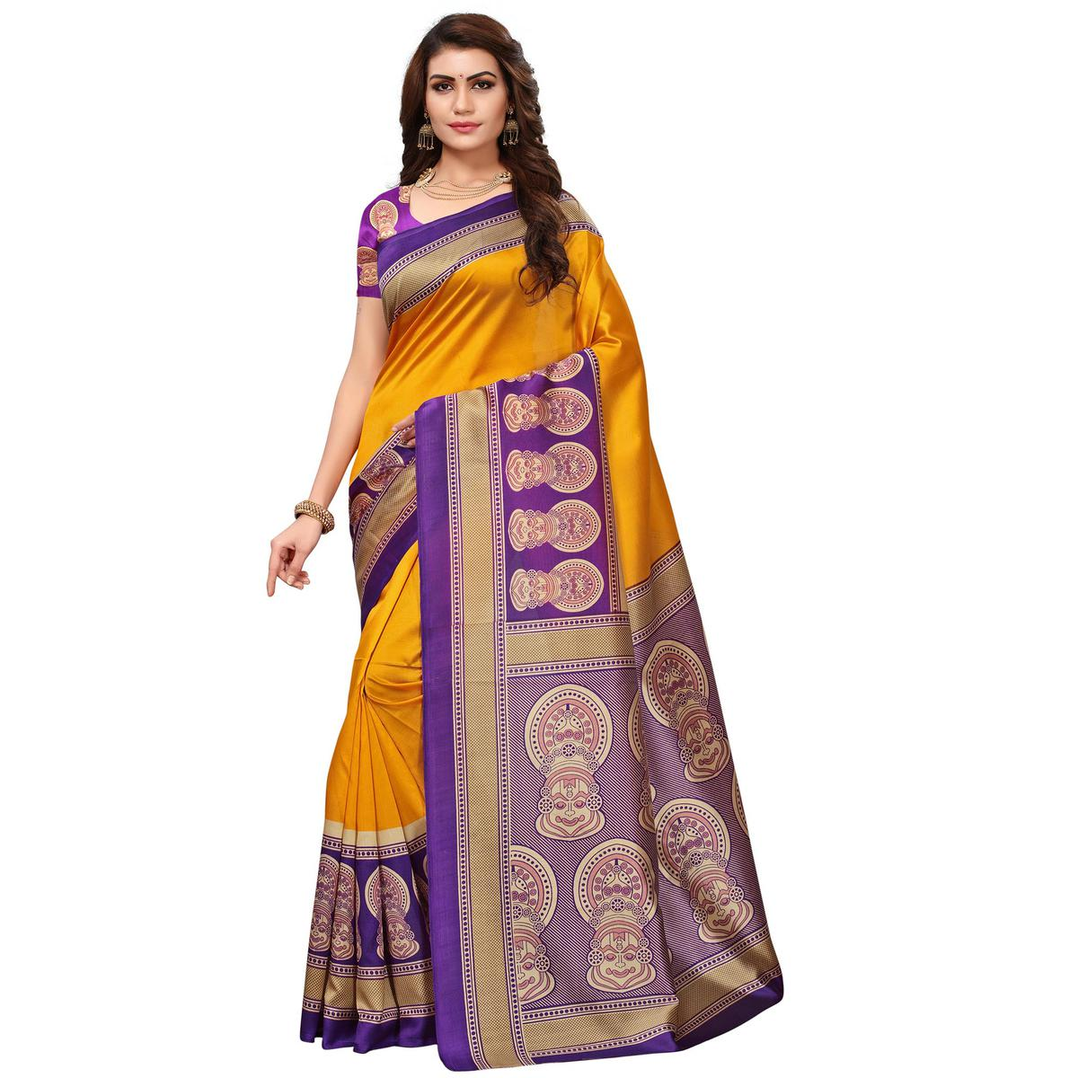 Alluring Yellow Colored Festive Wear Printed Art Silk Saree