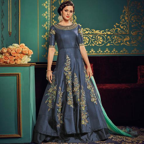 Arresting Blue Colored Partywear Embroidered Art Silk Gown