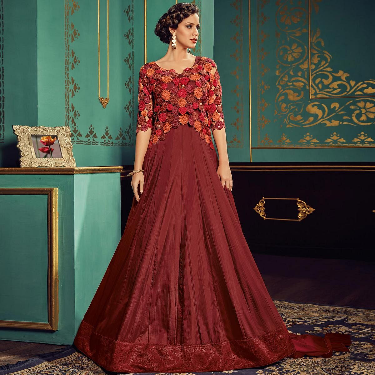 Hypnotic Maroon Colored Partywear Embroidered Art Silk Gown