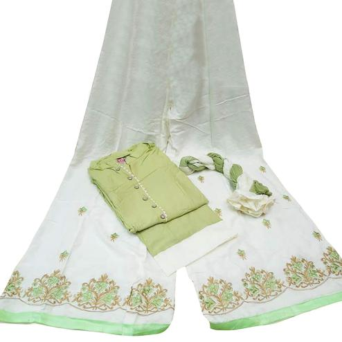 Classy Green Colored Partywear Embroidered Cotton Palazzo Suit