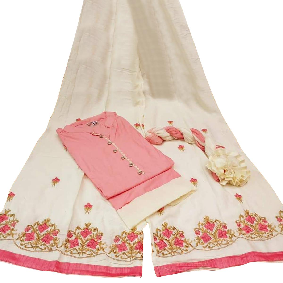 Desiring Pink Colored Partywear Embroidered Cotton Palazzo Suit